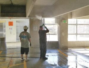 Power Washing Parking Garage Ceiling